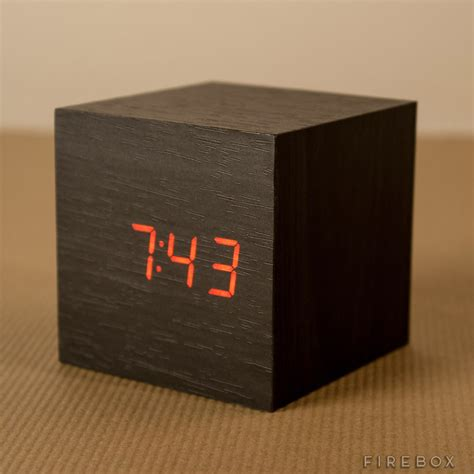 sound activated wooden cube clock