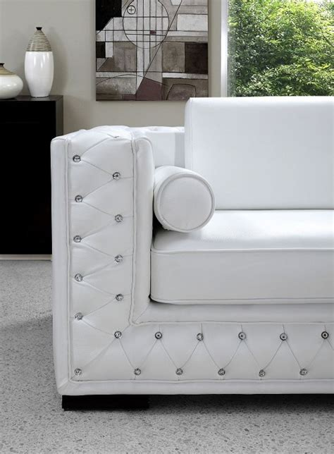 white sofa and loveseat set dallas designer furniture divani casa dublin crystal