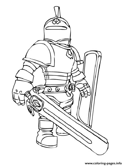 Roblox knight coloring pages free printable