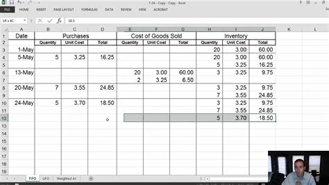 Module 7 Video 2 Inventory Fifo Lifo Weighted Average Problem 7 2a Youtube Lifo Excel Template