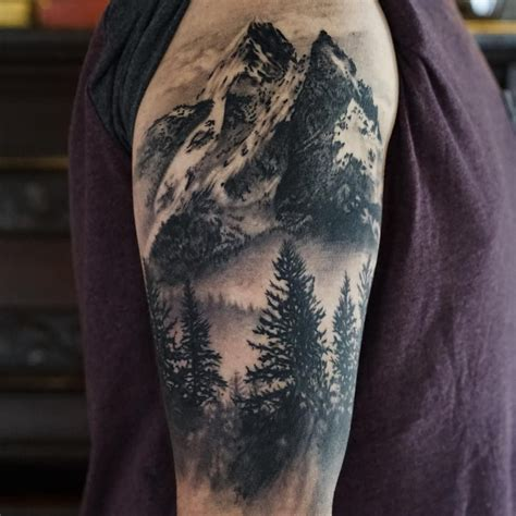 mountain tattoo sleeve see this instagram photo by desrocherstattoo 116 likes