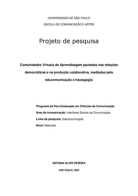 Projeto de Pesquisa - Mestrado ECA/USP by Antonia Alves
