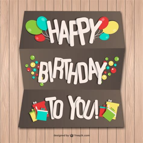 Birthday Cards For Wall With Happy Birthday Paper Card On Wood Wall Vector Free Download
