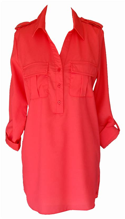 coral sleeve tunic blouse