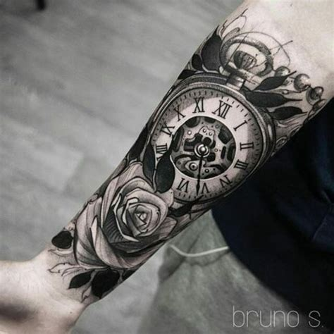 clock with roses tattoo best 25 clock tattoos ideas on