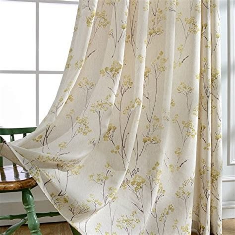yellow linen curtains anady top drapes linen polyester yellow rape flower and