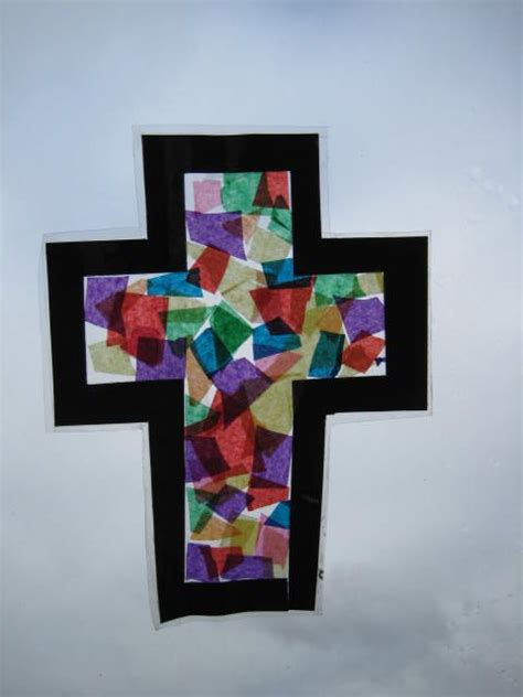 tissue paper stained glass craft for easter stained glass tissue paper cross church idea