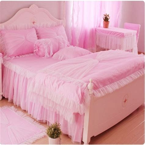 pink princess comforter sets korean style bed set lace ruffles bedspreads bedding sets