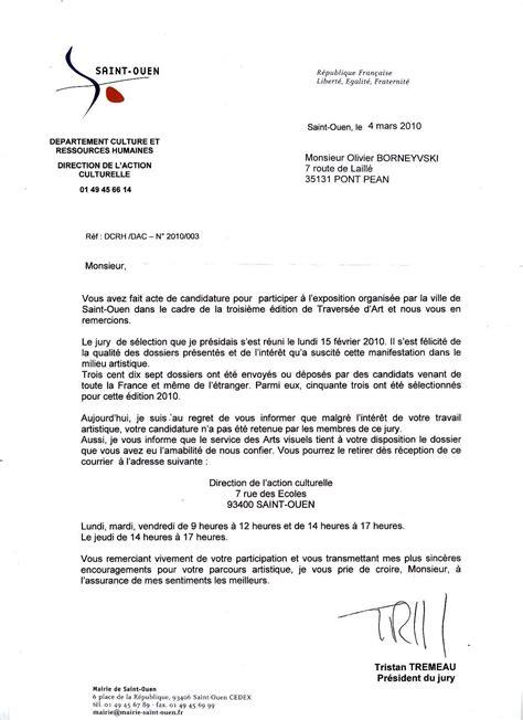 Présentation De Lettre De Candidature modele lettre candidature refus