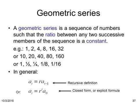 geometric number pattern formula cs 3343 analysis of algorithms ppt video online download