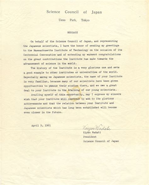 Formal Letter In Greetings Greetings On The Occasion Of Mit S Centennial In 1961 Exhibits Institute Archives Special