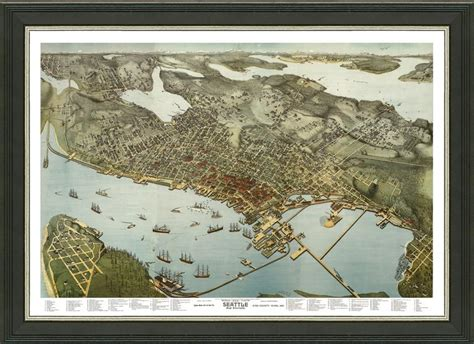 seattle map vintage map of seattle a great framed map that s ready to hang