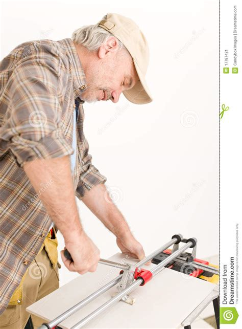 home improvement handyman cut tile stock image image