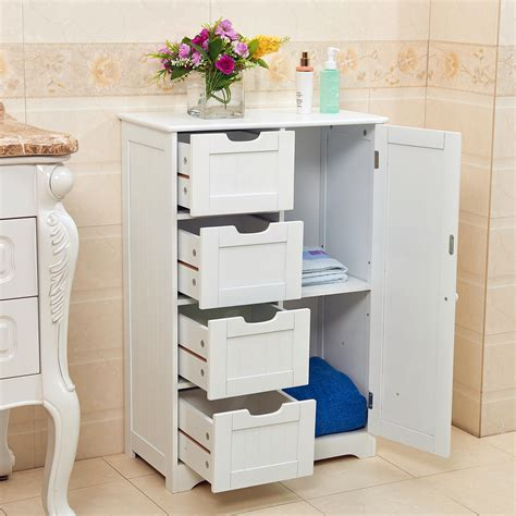 white wood free standing bathroom storage cabinet unit white wooden 4 drawer bathroom storage cupboard cabinet
