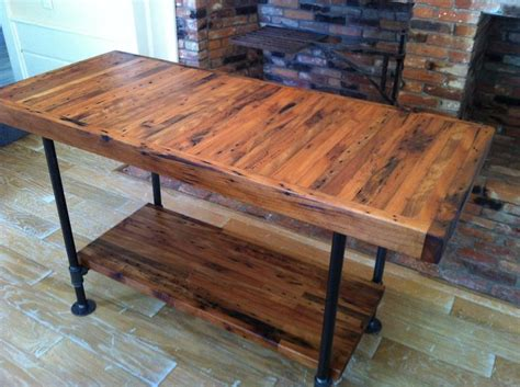 kitchen island industrial butcher block style reclaimed