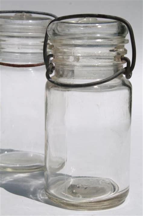 glass wire bail lid spice  herbs jars small clear