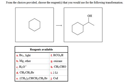 Matters Chemistry 2e solved from the choices provided choose the reagent s t