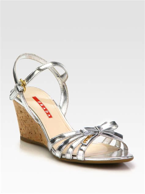 prada wedge sandals prada leather bow cork wedge sandals in metallic lyst