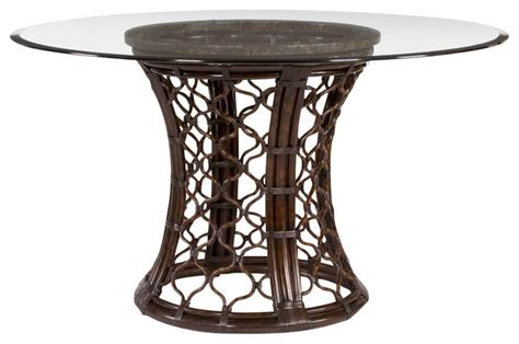 Wicker Kitchen Table Hammary Boracay Glass Dining Table With Rattan Pedestal Traditional Dining Tables By