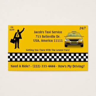 Visitenkarten Taxi by Taxi Cab Gifts On Zazzle
