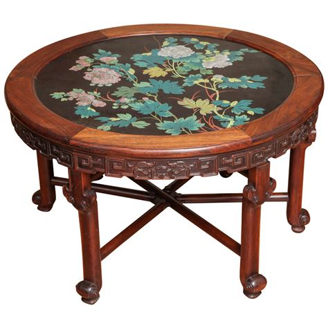 Enamel Table by Antique Carved Rosewood And Floral Enamel