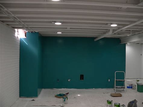 painted ceiling basement accent wall interesting still