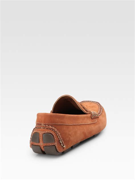 nubuck loafers saks fifth avenue nubuck loafers in brown for lyst