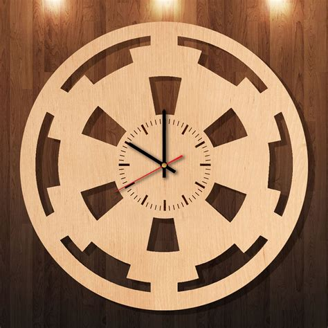 Wall Clock Handmade - wars galactic empire handmade wood wall clock