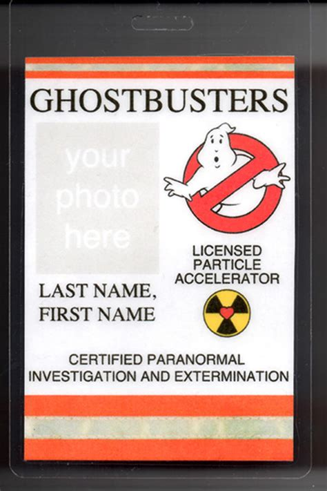 ghostbusters id card template ghostbusters custom badge id name tag card costume