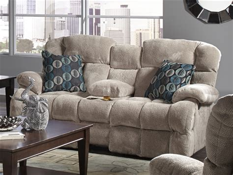 fabric reclining loveseat with console concord quot lay flat quot reclining console loveseat in quot smoke