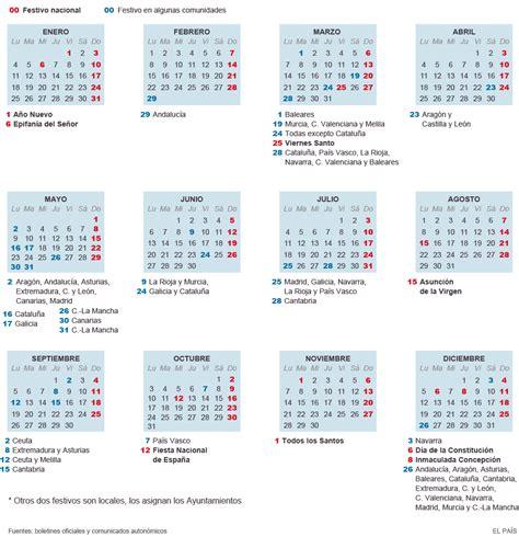 Calendario 2017 Feriados Bolivia Festivos Calendario Laboral Para 2016 Actualidad El Pa 205 S