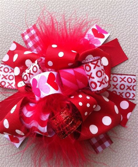 valentines day bow valentines day funky hair bow hairbows