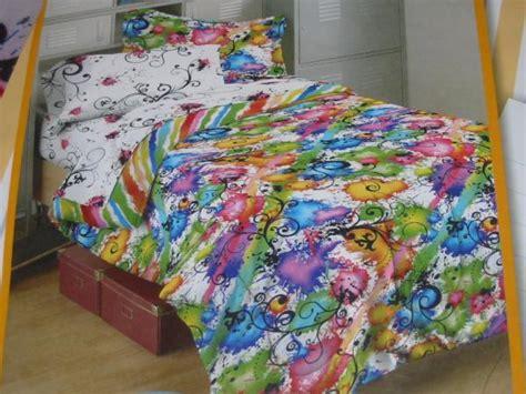 paint splatter comforter teen girl rainbow paint full comforter bed in a bag set ebay