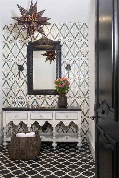 Moroccan Style Powder Room With Black Marble Quatrefoil Moroccan Bathroom Vanity