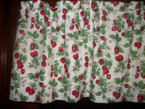 strawberries fruit retro 60 s fabric kitchen curtain