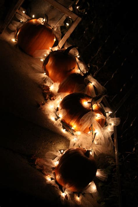 outdoor light up pumpkins outdoor fall decoration using pumpkins tulle and
