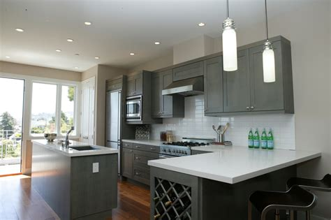 gray kitchen cabinets with white walls quicua