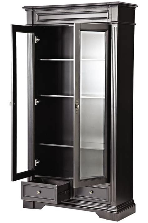 Black Bookcases With Doors Black Bookcase With Glass Doors