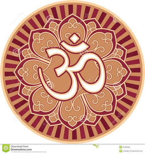 om aum symbol in flower rosette stock vector
