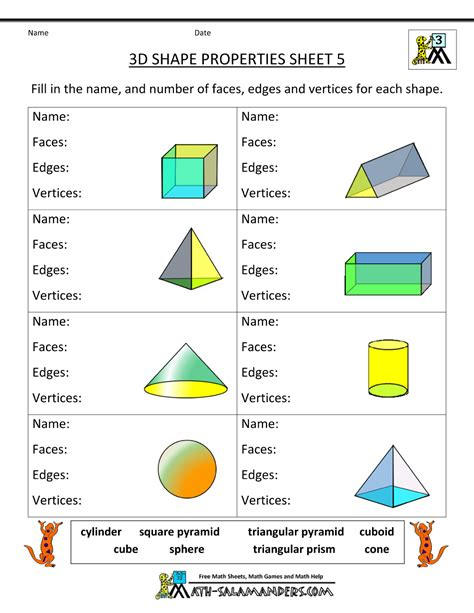shapes worksheets year 5 third grade math practice 3d shape properties 5