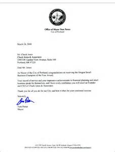 Business Letter Contact Information Letter From Mayor Of Portland Chuck Jones Amp Associates Inc