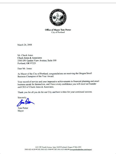 Letter For Mayor Letter From Mayor Of Portland Chuck Jones Associates Inc