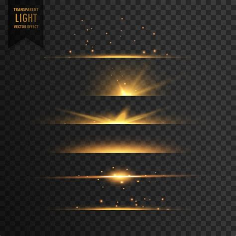 lights effects set of golden light effects vector free