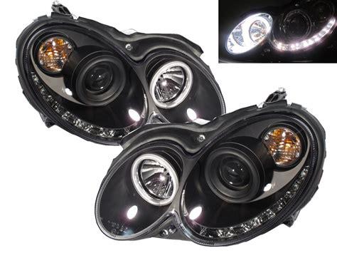 mercedes led headlights mercedes clk w209 2004 2009 black led drl daylight running
