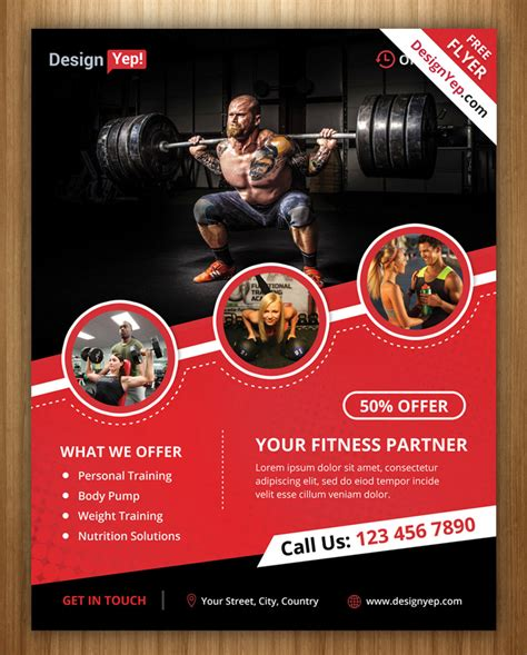 fitness brochure templates 18 and fitness flyer psd free designyep