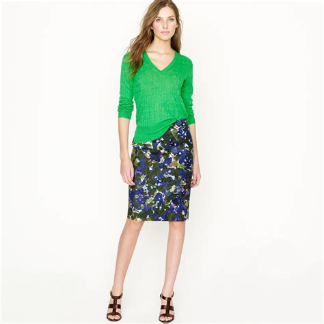 j crew no 2 pencil skirt in gardenshade floral in blue