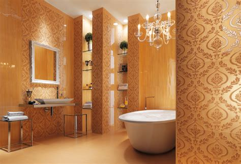 wallpaper look bathroom tiles interior design ideas