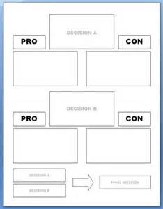 Pro Con List Template by Pro Con Worksheet Humorholics