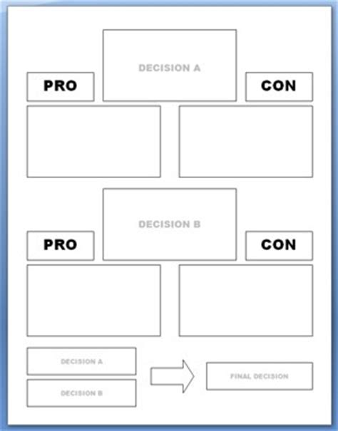 Pros And Cons Worksheet Template pro con worksheet mmosguides