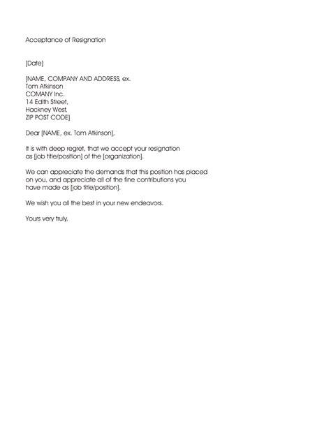 resignation acceptance letter sample letters